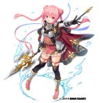 1girl bangs belt boots braid breasts capelet commentary_request eyebrows_visible_through_hair full_body gemini_seed gloves halberd holding holding_weapon long_hair looking_at_viewer official_art open_mouth outstretched_arm pink_eyes pink_hair polearm sakura_neko simple_background solo thigh-highs water_drop watermark weapon white_background