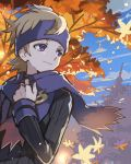 1boy blonde_hair closed_mouth clouds commentary day hand_up headband light_smile long_sleeves looking_to_the_side morty_(pokemon) outdoors pokemon pokemon_(game) pokemon_hgss scarf silhouette sky solo tpi_ri tree violet_eyes