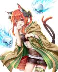 1girl absurdres animal_ear_fluff animal_ears belt bow bracelet breasts cat_ears cat_tail cosplay feng_ling_(fenglingwulukong) floating_skull glowing hair_bow highres hiita hiita_(cosplay) hood hood_down hooded_robe jewelry kaenbyou_rin multiple_tails open_clothes open_robe orange_eyes orange_hair pom_pom_(clothes) robe skirt solo tail thighlet tongue tongue_out touhou two_tails unbuttoned unbuttoned_shirt white_background yuu-gi-ou