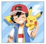 1boy ash_ketchum bangs baseball_cap blue_jacket border closed_eyes commentary_request gen_1_pokemon hand_up haruhi_(xy161027z) hat holding holding_pokemon jacket on_shoulder open_clothes open_jacket pikachu pokemon pokemon_(anime) pokemon_(creature) pokemon_on_shoulder pokemon_swsh_(anime) shirt short_sleeves sleeveless sleeveless_jacket teeth upper_body white_shirt