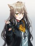 1girl animal_ear_fluff animal_ears bangs black_gloves black_jacket blush brown_hair cat_ears collared_shirt fingerless_gloves girls_frontline gloves gradient gradient_background hair_between_eyes hand_in_hair jacket long_hair long_sleeves looking_at_viewer one_side_up open_mouth scar scar_across_eye shirt silence_girl simple_background smile solo ump45_(girls_frontline) unzipped upper_body white_shirt yellow_eyes zipper