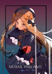1girl abigail_williams_(fate/grand_order) bangs black_bow black_dress black_headwear blonde_hair blue_eyes blush bow breasts character_name dress forehead long_hair long_sleeves looking_at_viewer multiple_bows open_mouth orange_bow parted_bangs polka_dot polka_dot_bow sleeves_past_fingers sleeves_past_wrists small_breasts smile soukou_makura stuffed_animal stuffed_toy teddy_bear