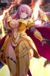 1girl absurdres armor armored_boots artist_request bangs bikini_armor black_gloves boots breastplate breasts cape center_opening circlet claudette_(queen's_blade) cleavage_cutout clothing_cutout company_connection elbow_gloves gloves gold_armor highres large_breasts long_hair navel navel_cutout official_art panties purple_hair queen's_blade queen's_blade_unlimited queen's_blade_white_triangle shoulder_armor solo spaulders thighs underwear vambraces violet_eyes