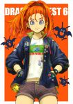 absurdres alternate_costume barbara_(dq6) blue_eyes buttons closed_mouth contemporary dragon_quest dragon_quest_vi drakee earrings ebiten_(ebi10d) hands_in_pockets high_ponytail highres jacket jewelry long_sleeves looking_at_viewer monster orange_hair shirt shorts slime_(dragon_quest) smile t-shirt watch watch