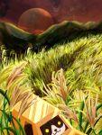 :3 car cat day grass ground_vehicle hachiware-san highres motor_vehicle mountainous_horizon neko_atsume no_humans outdoors red_sky sidou sky susuki_grass yellow_eyes