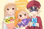 3girls :d bangs birthday blonde_hair bouquet box brown_eyes cabbie_hat character_name chibi doma_umaru domino_mask english_text eyebrows_visible_through_hair fish flower gift gift_box hair_between_eyes hamster_hood happy_birthday hat hijiki_(hijikini) himouto!_umaru-chan hood hoodie komaru long_hair looking_at_viewer mask multiple_girls open_mouth red_hoodie ribbon smile sunflower sweatdrop very_long_hair wavy_mouth