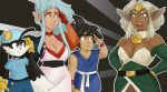 2boys 2girls aisha_clanclan background blue_hat blue_shirt crossover dragon_ball_gt kaze_no_klonoa klonoa multiple_crossover outlaw_star request ryouko_(tenchi_muyou!) salute son_gokuu tenchi_muyou!