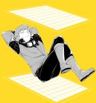 1boy arm_pillow arms_behind_head arms_up bangs boots closed_mouth crossed_legs floating frown full_body goggles goggles_around_neck jacket leaning_back long_sleeves looking_away looking_up male_focus mizukami_satoshi_(world_trigger) monochrome pants sake_(kadai) sanpaku shoe_soles simple_background solo square uniform world_trigger