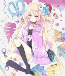 1girl :o absurdres bag bandaid bandaid_on_knee bangs black_choker black_legwear black_shirt blonde_hair blue_bow blue_flower blush bottle bow brown_flower choker collarbone cuffs eyeball_hair_ornament eyebrows_visible_through_hair first_aid_kit flower food fruit full_body grey_background hair_bow hair_ornament hand_up handcuffs heart heart_hair_ornament highres hood hood_down hooded_jacket jacket kneehighs knife long_hair long_sleeves looking_at_viewer no_shoes open_clothes open_jacket original parted_lips purple_flower purple_jacket ribs scissors shirt skirt sleeves_past_fingers sleeves_past_wrists solo strawberry thick_eyebrows tsukiyo_(skymint) very_long_hair violet_eyes white_skirt