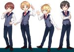 4boys absurdres black_hair blonde_hair blue_eyes brown_hair collared_shirt cross_tie crossed_arms full_body green_eyes hair_ornament hairclip highres konmamion male_focus multiple_boys open_mouth original shirt simple_background smile vest violet_eyes waving white_background white_shirt