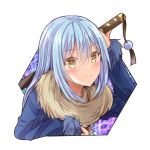 1other aisu_(icicleshot) androgynous bangs blue_hair blush closed_mouth eyebrows_visible_through_hair fur fur-trimmed_sleeves fur_collar fur_trim hair_between_eyes katana long_hair long_sleeves looking_at_viewer rimuru_tempest sheath sheathed simple_background smile solo sword tensei_shitara_slime_datta_ken weapon white_background yellow_eyes