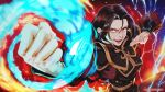 1girl artist_name avatar:_the_last_airbender avatar_(series) azula bangs black_hair blue_fire brown_eyes clenched_hand electricity element_bending evil_smile fighting_stance fire glowing glowing_eyes hair_down highres magion02 open_mouth parted_bangs patreon_username smile solo