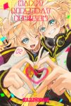 1boy 1girl adapted_costume bangs bare_shoulders black_collar black_shorts blonde_hair blue_eyes bow cable character_name clothing_cutout collar confetti crop_top fang grin hair_bow hair_ornament hairclip halftone hand_up happy_birthday headphones headphones_around_neck heart heart_hands heart_hands_duo ironaki kagamine_len kagamine_rin long_sleeves looking_at_viewer midriff nail_polish navel neckerchief necktie one_eye_closed open_mouth ribbed_sweater sailor_collar school_uniform shirt short_hair short_ponytail shorts shoulder_cutout shoulder_tattoo smile spiky_hair sweater swept_bangs tattoo upper_body v vocaloid white_bow white_shirt yellow_nails yellow_neckwear