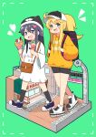 2girls :3 ahoge backpack bag bangs baseball_cap beanie bike_shorts black_hair black_legwear blonde_hair blue_eyes blush blush_stickers border character_name clothes_writing commentary_request copyright_name crepe dotted_line drooling eyebrows_visible_through_hair flower food green_background green_eyes hair_between_eyes hair_flower hair_ornament hat heart highres himesaka_noa holding holding_food hood hoodie ice_cream long_hair looking_at_viewer mitsukiro multiple_girls open_mouth ponytail shirosaki_hana shirt shoes shoulder_bag smile sneakers socks thick_eyebrows watashi_ni_tenshi_ga_maiorita! white_shirt