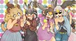 4girls ahoge alternate_costume alternate_hairstyle animal_ears bald_eagle_(kemono_friends) bangs bare_arms bare_shoulders bespectacled bird_tail bird_wings black_hair blonde_hair blunt_bangs braid brown_hair buttons casual cat_girl collared_shirt commentary_request constricted_pupils contemporary denim dress eyebrows_visible_through_hair failure fang finger_licking fingernails flower food french_braid glasses green_nails grey_hair hair_between_eyes hair_flower hair_ornament hands_up head_wings high-waist_skirt highres holding holding_food ice_cream ice_cream_cone igarashi_(nogiheta) jeans kemono_friends licking light_brown_hair lion_(kemono_friends) lion_ears lion_girl lion_tail long_hair long_sleeves looking_at_another looking_down medium_hair multicolored_hair multiple_girls nail_polish northern_goshawk_(kemono_friends) open_mouth orange_eyes orange_hair pants parted_lips plaid plaid_shirt plains_zebra_(kemono_friends) purple_nails red-framed_eyewear red_nails semi-rimless_eyewear shirt short_dress single_braid skirt sleeveless sleeveless_sweater sleeveless_turtleneck smile sweater tail tareme tongue tongue_out tsurime turtleneck turtleneck_sweater two-tone_hair under-rim_eyewear very_long_hair wing_collar wings zebra_ears