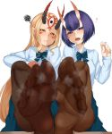 2girls bangs blonde_hair blue_skirt blush bob_cut breasts brown_legwear contemporary eyeliner facial_mark fang fang_out fate/grand_order fate_(series) feet forehead forehead_mark hair_pulled_back heart highres horns ibaraki_douji_(fate/grand_order) leg_up legs long_hair long_sleeves looking_at_viewer makeup multiple_girls oni oni_horns open_mouth pantyhose pointy_ears purple_hair shin_(rwkk8733) shirt short_hair shuten_douji_(fate/grand_order) skin-covered_horns skirt small_breasts smile soles squiggle tattoo toes violet_eyes white_shirt yellow_eyes