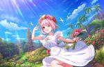 blush dress idolmaster_cinderella_girls_starlight_stage pink_eyes pink_hair short_hair smile wink yumemi_riamu