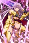 1girl absurdres armor armored_boots artist_request bangs boots breasts cape circlet claudette_(queen's_blade) company_connection gold_armor highres holding holding_sword holding_weapon large_breasts lips long_hair looking_at_viewer navel official_art purple_hair queen's_blade queen's_blade_unlimited queen's_blade_white_triangle shoulder_armor sidelocks solo spaulders sword thighs underwear vambraces violet_eyes weapon