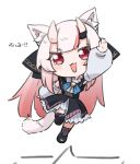 1girl :3 :d animal_ear_fluff animal_ears cat_ears cat_tail chibi detached_sleeves fang full_body gradient_hair hololive horns jumping kemonomimi_mode long_hair looking_at_viewer multicolored_hair nakiri_ayame namaonpa oni open_mouth red_eyes redhead simple_background smile solo tail virtual_youtuber white_background white_hair