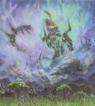 1boy antispiral clouds fighting gainax grass highres mecha official_art scan sky super_robot tengen_toppa_gurren-lagann_(mecha) tengen_toppa_gurren_lagann traditional_media tree yoshinari_you