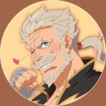 1boy bandages beard blue_eyes chest close-up earrings face facial_hair granblue_fantasy grey_hair heart highres jewelry long_hair looking_at_viewer manly mustache old_man one_eye_closed portrait smith_(ardp13) soriz tied_hair