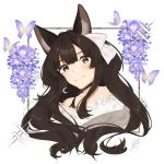 aaaaaaisya19 animal_ear_fluff animal_ears black_choker brown_hair bug butterfly chai_(yueko_(jiayue_wu)) choker close-up crescent crescent_earrings earrings english_commentary eyebrows_visible_through_hair floral_background fox_ears highres indie_virtual_youtuber insect jewelry long_hair looking_at_viewer ribbon sidelocks white_background white_ribbon