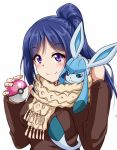 1girl blue_hair brown_jacket closed_mouth eyebrows_visible_through_hair fingernails gen_4_pokemon glaceon hands_up holding holding_poke_ball jacket long_sleeves looking_at_viewer love_ball love_live! love_live!_sunshine!! matsuura_kanan on_shoulder poke_ball pokemon_(creature) pokemon_on_shoulder scarf simple_background smile solo violet_eyes white_background yellow_scarf yopparai_oni