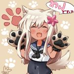 1girl animal_ears artist_logo black_neckwear black_sailor_collar black_swimsuit blonde_hair brown_background closed_eyes commentary_request covered_navel cowboy_shot crop_top dog_ears dog_tail facing_viewer gloves kantai_collection long_hair neckerchief paw_gloves paw_print paws ro-500_(kantai_collection) sailor_collar san-hitome_no_haru school_swimsuit smile solo swimsuit swimsuit_under_clothes tail tan