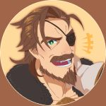 1boy brown_eyes brown_hair close-up eugen_(granblue_fantasy) eyepatch face facial_hair goatee granblue_fantasy green_eyes highres looking_at_viewer male_focus manly medium_hair mustache open_mouth portrait smile smith_(ardp13) solo