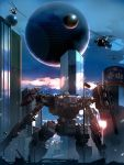 aircraft city from_behind helicopter highres looking_up mecha military military_vehicle no_humans original rapama science_fiction solo_focus sphere