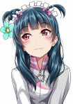 1girl :3 alternate_hairstyle bangs blue_flower blue_hair blunt_bangs blush bow closed_mouth flower grey_jacket hair_bow hair_flower hair_ornament jacket long_hair looking_to_the_side love_live! love_live!_sunshine!! maid_headdress pink_bow red_eyes simple_background smile solo tsushima_yoshiko two_side_up upper_body white_background yopparai_oni