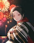 1boy brown_hair earrings fireworks highres japanese_clothes jewelry kashuu_kiyomitsu kimono male_focus mole mole_under_mouth night night_sky red_eyes red_nails red_scarf scarf sky smile star_(sky) starry_sky touken_ranbu water yamada_chickenko yukata