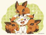 artist_name blush closed_mouth commentary_request fang gen_8_pokemon looking_up nickit no_humans on_head one_eye_closed open_mouth pink_eyes pokemon pokemon_(creature) pokemon_on_head roku_(rokkrn) scorbunny sitting smile spread_legs starter_pokemon tongue