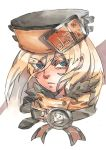 1girl belt blonde_hair blue_eyes closed_mouth commentary english_commentary eyes_visible_through_hair floating_hair guilty_gear guilty_gear_strive hat long_hair looking_at_viewer millia_rage portrait ringed_eyes serious solo white_background zakusi