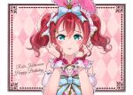 1girl aqua_eyes birthday bow character_name commentary_request copyright_name dated english_text hair_between_eyes hair_bow hair_ribbon happy_birthday highres kurosawa_ruby looking_at_viewer love_live! love_live!_sunshine!! maple_(maplesiroop) pink_background redhead ribbon solo twintails upper_body wrist_cuffs