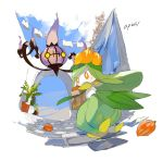 apios1 artist_name bag berry_(pokemon) cat chandelure clothes clothesline day from_below gen_4_pokemon gen_5_pokemon glameow highres lilligant looking_back no_humans orange_eyes outdoors paper_bag plant pokemon pokemon_(creature) potted_plant sweatdrop yellow_eyes