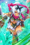 1girl absurdres afterimage artist_request blue_hair blush bow breasts closed_mouth company_connection dark_skin day dress dual_wielding grey_legwear hair_bow highres holding holding_weapon irma medium_breasts official_art outdoors pink_eyes queen's_blade queen's_blade_unlimited queen's_blade_white_triangle reverse_grip scarf shiny shiny_hair shiny_skin short_dress short_hair short_sword solo sword thigh-highs weapon