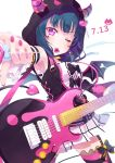 1girl bangs black_jacket blue_hair cowboy_shot dated detached_sleeves electric_guitar garter_straps guitar highres holding holding_instrument hood hood_up hooded_jacket instrument jacket kitahara_tomoe_(kitahara_koubou) long_hair love_live! love_live!_sunshine!! mouth_hold nail_polish one_eye_closed pleated_skirt plectrum red_eyes red_nails simple_background skirt sleeveless sleeveless_jacket solo striped striped_legwear thigh-highs tsushima_yoshiko twitter_username unzipped white_background white_skirt