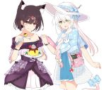 2girls animal_ear_fluff animal_ears bag bangs bare_shoulders black_hair blue_bow blue_capelet blue_dress blue_ribbon blush bow braid brown_eyes can capelet cat_tail closed_mouth collarbone commentary_request dress energy_drink eyebrows_visible_through_hair eyes_visible_through_hair fang floral_print food food_on_face food_themed_hair_ornament frilled_dress frills gradient_hair green_eyes hair_between_eyes hair_ornament hair_over_shoulder hair_ribbon hairclip hand_up hat hat_bow highres holding holding_plate holding_spoon jewelry licking_lips long_hair mario_(series) monster_energy multicolored_hair multiple_girls mushroom_hair_ornament necklace nekoyanagi_(azelsynn) off-shoulder_dress off_shoulder open_mouth original pink_hair plaid plaid_bow plate pleated_dress print_capelet pudding purple_dress ribbon short_hair short_sleeves shoulder_bag simple_background smile spoon sun_hat super_mario_bros. super_mushroom tablet_pc tail tail_bow tongue tongue_out unmoving_pattern very_long_hair white_background white_hair white_headwear