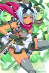 1girl absurdres afterimage artist_request blue_hair blush bow breasts closed_mouth company_connection dagger dark_skin dress dual_wielding grey_legwear hair_bow highres holding holding_weapon irma medium_breasts official_art pink_eyes queen's_blade queen's_blade_unlimited queen's_blade_white_triangle reverse_grip scarf short_dress short_hair short_sword skindentation solo sword thigh-highs weapon