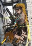 1girl arm_up armpits black_gloves black_hair black_legwear blurry blurry_background breasts building floating_hair gas_mask girls_frontline gloves gun hand_up headset heterochromia highres holding holding_gun holding_weapon id_card lanyard large_breasts long_hair long_sleeves looking_at_viewer miniskirt mod3_(girls_frontline) multicolored_hair noveske_space_invader open_clothes parted_lips pleated_skirt ro635_(girls_frontline) silence_girl skirt sleeveless solo standing streaked_hair submachine_gun thigh-highs thighs torn_clothes torn_legwear torn_skirt very_long_hair weapon yellow_eyes