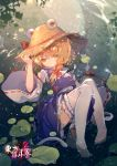 1girl alternate_headwear blonde_hair caustics droplet expressionless flower full_body giant_snake hair_ornament hair_ribbon hand_on_headwear hat highres knees_up leg_garter long_sleeves looking_at_viewer lotus moriya_suwako no_shoes partially_submerged purple_skirt purple_vest red_ribbon ribbon ribbon-trimmed_sleeves ribbon_trim rokusai short_hair skirt skirt_set sleeves_past_wrists snake solo straw_hat thigh-highs touhou vest water wet white_legwear wide_sleeves yellow_eyes