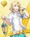 blonde_hair character_name dress green_eyes idolmaster idolmaster_side-m lantern long_hair smile tsuzuki_kei