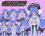 >_< 0_0 1girl :< :d :q bare_arms black_bow black_headwear blue_dress blue_eyes blue_hair blush bow closed_eyes closed_mouth commentary_request dress eel_hat fang frilled_dress frills glasses gradient_dress gradient_hair hair_bow halftone halftone_background hand_on_hip hand_up hat highres index_finger_raised long_hair milkpanda multicolored_hair multiple_views nose_blush open_mouth otomachi_una parted_lips pink_background pink_dress purple_hair red-framed_eyewear sailor_collar sailor_dress semi-rimless_eyewear shaded_face side_ponytail smile standing striped striped_bow tongue tongue_out translation_request twintails under-rim_eyewear very_long_hair vocaloid watch watch white_bow white_sailor_collar |_|