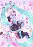 1girl blue_hair boots clenched_teeth floating_hair hamkuti hatsune_miku highres holding holding_microphone_stand long_hair looking_at_viewer microphone_stand skindentation solo teeth thigh-highs thigh_boots twintails vocaloid