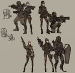 1girl armor black_hair black_legwear boots breasts cyberpunk cyborg highres holding holding_weapon long_hair mecha_musume military original robot shield soldier weapon wei_(kaminari0411)