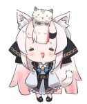 1girl :3 :d =_= animal_ear_fluff animal_ears animal_on_head blush cat cat_ears cat_on_head cat_tail chibi detached_sleeves full_body gradient_hair hololive horns kemonomimi_mode long_hair multicolored_hair nakiri_ayame namaonpa on_head oni open_mouth redhead simple_background smile standing tail virtual_youtuber white_background white_hair