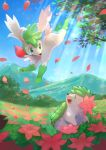 commentary day flower gen_4_pokemon grass green_eyes highres kikuyoshi_(tracco) light_beam looking_up mountain mythical_pokemon no_humans open_mouth outdoors petals pink_flower pokemon shaymin shaymin_(land) shaymin_(sky) signature sky tongue tree