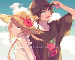 1boy 1girl :d arashiyama_jun arms_at_sides bare_shoulders baseball_cap black_headwear black_shirt braid brown_headwear closed_mouth clouds cousins dated day dress english_text floral_print flower frills green_eyes hair_flaps hair_over_shoulder hand_on_headwear hand_up happy_birthday hat hat_flower hibiscus konami_kirie long_hair looking_at_viewer noeru_(putty) open_mouth print_shirt red_flower shirt short_sleeves sky smile straw_hat summer sun_hat sundress t-shirt twin_braids twintails upper_body white_background world_trigger