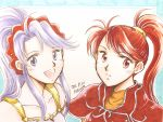 2girls :o dated fire_emblem fire_emblem:_genealogy_of_the_holy_war fire_emblem:_path_of_radiance highres ishtar_(fire_emblem) jill_(fire_emblem) kaura looking_at_viewer looking_to_the_side looking_up multiple_girls open_mouth ponytail purple_hair red_eyes redhead smile tied_hair trait_connection violet_eyes